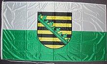 Flagge Fahne Sachsen mit Wappen ca. 100 x 150 cm, 110 g/m² Polyesterwirkware