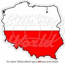 Flagge von Polen mit den Umrissen des Landes als Aufkleber, aus Vinyl, Auto-Aufkleber für Stoßstange, 10 cm