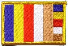 Flaggen Aufnäher Buddhismus Fahne Patch + gratis Aufkleber, Flaggenfritze®