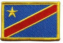 Flaggen Aufnäher Demokratische Republik Kongo Fahne Patch + gratis Aufkleber, Flaggenfritze®
