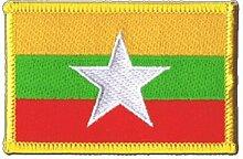 Flaggen Aufnäher Myanmar neu Fahne Patch + gratis Aufkleber, Flaggenfritze®