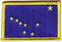 Flaggen Aufnäher USA Alaska Fahne Patch + gratis Aufkleber, Flaggenfritze®