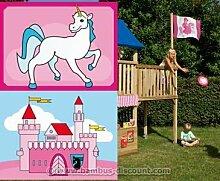 Flaggenset Mädchen für Spielturm, 2er Set - Kinderspielgeräte für Garten, Spielgeräte für Kinder, Spielturm, Spieltürme