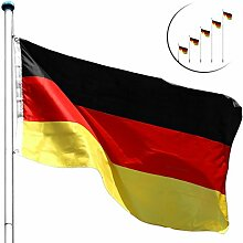 FLAGMASTER Alu Fahnenmast 6,5m + Deutschlandfahne, Komplettset, 5fach höhenverstellbar, 3 Jahre Garantie