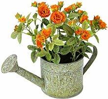 Flair Flower Wildrosen i.Giesskanne, Polyester, Kunststoff, Metall, Orange, 20 x 24 x 14 cm