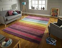 Flair Rugs Illusion Candy Bunt Wool Streifen