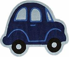 Flair Rugs Kinder Teppich mit Auto-Design (80cm x 100cm) (Blau)