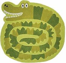 Flair Rugs Kinder Teppich mit Krokodil-Design (90cm x 90cm) (Grün)