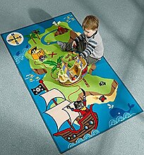 Flair Rugs Kinder Teppich mit Piraten-Schatzinsel (100cm x 160cm) (Bunt)