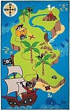 Flair Rugs Kinder Teppich mit Piraten-Schatzinsel