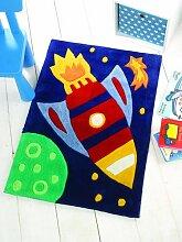 Flair Rugs Kinder Teppich mit Raketen-Design (70cm x 100cm) (Bunt)