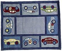 Flair Rugs Kinder Teppich mit Rennauto-Design (80cm x 100cm) (Blau)