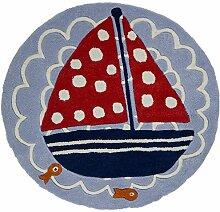 Flair Rugs Kinder Teppich mit Segelboot-Design, rund (90cm x 90cm) (Blau/Rot)