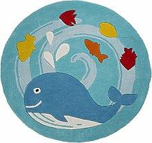 Flair Rugs Kinder Teppich mit Wal-Design, rund (90cm x 90cm) (Blau)