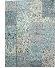 Flair Rugs Manhattan Chenille Teppich mit Patchwork-Design (155cm x 230cm) (Taubenblau)