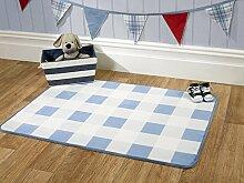 Flair Rugs Teppich für Kinderzimmer, Vichy-Karo, Kinder-Teppich, blau, 70x 100cm