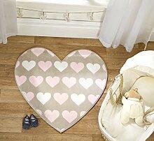 Flair Rugs Teppich in Herzform für Kinderzimmer, 83x83cm, braun
