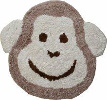 Flair Rugs Teppich Kinderzimmer, für Kinder, Affenmotiv, Natur, 75 x 80 Cm