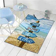 Flair Rugs Teppich mit Strand-Motiv (100cm x 160cm) (Bunt)