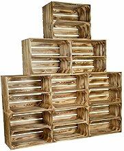 flambierte / geflammte massive Obstkisten als Regal mit Zwischenbrett / Mittelbrett Einlage 50 x 40 x 30cm / Apfelkisten Weinkisten Holzkisten aus dem Alten Land (9er set)