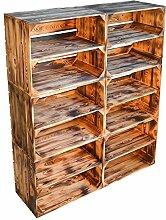 flambierte / geflammte massive Obstkisten als Regal mit Zwischenbrett / Mittelbrett Einlage 50 x 40 x 30cm / Apfelkisten Weinkisten Holzkisten aus dem Alten Land (6er set)