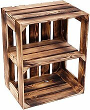 flambierte / geflammte massive Obstkisten als Regal oder als klassische Kiste ca 49 x 42 x 31 cm / Apfelkisten Weinkisten aus dem Alten Land (1 Stück geflammte offen mit Quer Einlage)