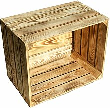 flambierte / geflammte massive Obstkisten als Regal oder als klassische Kiste ca 49 x 42 x 31 cm / Apfelkisten Weinkisten aus dem Alten Land (2 Stück geflammt)