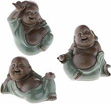 FLAMEER 3pcs Keramik Maitreya Happy Buddha Figur