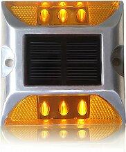 FLAMEER Bodenleuchte Solarleuchte Solarbetriebene LED Bodeneinbauleuchte 6-Lampe Außenleuchte Wasserdicht Pfad Garten Landschaft Spike Beleuchtung für Hof Auffahrt Rasenffahrt - Gelb