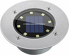 FLAMEER Solar Bodeneinbaustrahler Außen 8 LED