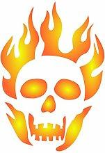 Flaming Skull Stencil-wiederverwendbar Creepy