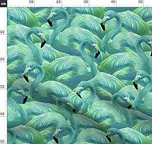 Flamingo, Flamingos, Blau, Grün, Tapete Stoffe -