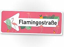 Flamingo Kunststoff Schild Flamingostraße rosa,