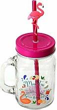 Flamingo Mai Tai Glas mit Strohhalm und Deckel -