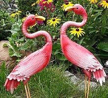 Flamingo Metall Gartenfigur Gartendeko Vogel