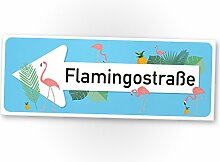 Flamingo Schild - Flamingostraße hellblau, kleines persönliches Geschenk für sie - süße Deko, Wanddeko, Türschild Mädchen-Zimmer, Geschenkidee Geburtstagsgeschenk beste Freundin, Party Deko