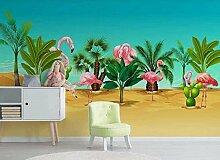 Flamingo Tropical Plant Tapete Vlies Tapete