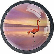 Flamingos im Sonnenuntergang 4 Stück