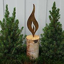 Flamme zumStecken 23cm goldfarben Rostflamme