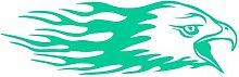 Flammenaufkleber Adlerkopf Aufkleber Motiv 620 in 7 Größen und 25 Farben (80x25cm türkis)
