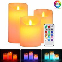 Flammenloses LED Kerzen, ALED LIGHT 3er Pack