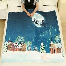 Flanell Decke Jamicy®Winter Warm Bed Blanket 130*150cm Weihnachten Decke Flanell Stoff Sofa Bett Decke (L)