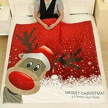 Flanell Decke Jamicy®Winter Warm Bed Blanket 130*150cm Weihnachten Decke Flanell Stoff Sofa Bett Decke (C)
