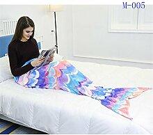 Flanell Schlafdecke Mermaid Tail Decke warmen Schlafsack für Sofa Living Room Decken , m-005 , 160cm