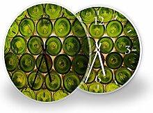 Flaschen - Moderne Wanduhr mit Fotodruck auf Polycarbonat   Fotouhr Bilderuhr Motivuhr Küchenuhr modern hochwertig Quarz   Variante:30 cm rund mit weißen Zeigern