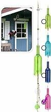 Flaschen Windspiel - Pink - 110cm - Gartendeko Klangspiel Glas