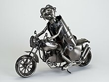 Flaschenhalter Motorrad aus Metall 44 cm. Originelle Geschenkidee für Biker