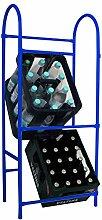 Flaschenkastenständer 118x50x30 cm, 3 Kisten, 75 kg, blau (Kastenständer, Kistenständer, Kastenregal)