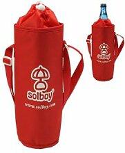 Flaschenkühler, Flaschentasche mit Gurt, Thermohülle, Flaschenhülle - SOLBOY für Picknick, Strand