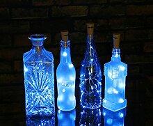Flaschenlicht Abester 6 Stück LED Lichter String Stimmung Lichter Mini-Lichterkette für Party Dekor Weihnachten Halloween Hochzeit (Blau, Länge 75cm mit 15 LED)